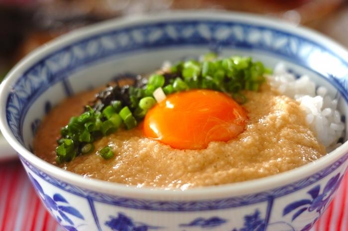 シンプルなとろろには、粘りと風味がしっかりした自然薯がおすすめです。だし、醤油、みりんなどを合わせて味つけしたら、相性のいいネギや海苔をトッピング。好みで卵を加えて。元気がない時は消化を助けるとろろで食欲を回復させましょう♪