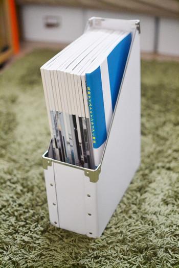 ファイルボックスもマガジンラックとして使えるんです。こちらはIKEAのアイテム。毎月買っている雑誌などを種類ごとにストックするのも良いですね。