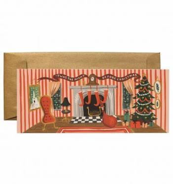 アメリカのステーショナリー・ブランド『RIFLE PAPER CO.』のクリスマスカード。外に降る雪、クリスマスの装飾がされた室内、そしてサンタさんからのプレゼント…眺めているだけで一気にクリスマス気分になれそう。