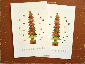 こちらは独特な色味が素敵な、銅版画をコラージュしたものを印刷した作品。あたたかみのあるツリーで、両親や祖父母など、どんな方にも喜んでもらえそうな一枚です。