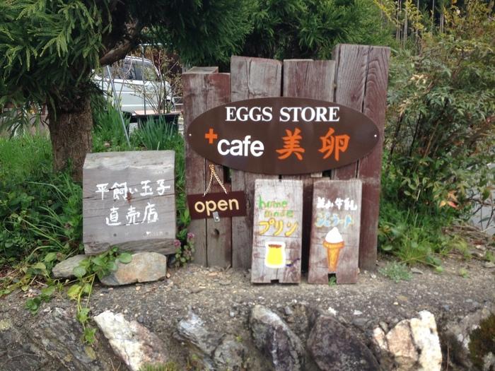 養鶏場の卵直売所に併設された人気の「カフェ美卵」。こちらの鶏は、ストレスを与えず自然に近い状態の平飼いをされているので、卵がとても濃厚で美味しいと有名です。そんな卵を使用したデザートはどれも絶品!