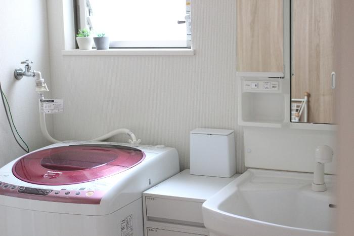 殺風景で寒々しい印象になりがちな洗面所も、グリーンが少しあるだけで不思議とあたたかな印象に。プチプライスのフェイクグリーンでも、大きな仕事をしてくれていますね。