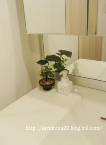 殺風景になりがちなシンプルな洗面所。フェイクグリーンを置いておくだけでナチュラルな空間になります。