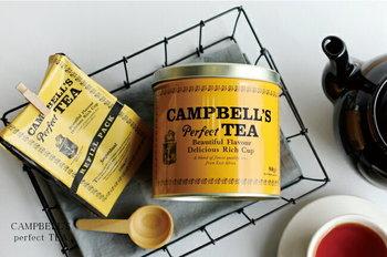 アイルランドで1797年に誕生した「キャンベルズ・パーフェクト・ティー」。発売当初からほぼ変わらないレトロな缶は、キッチンのインテリアとしても素敵。500gの茶葉がたっぷり入っているので、ストレートで、アレンジで、お菓子や料理に…とデイリーに楽しめます。