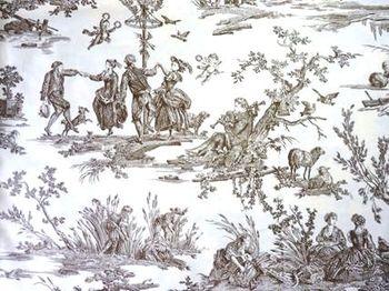 こちらは、1785年、ユエ初期の作品となる「四季の喜び」。柄を左右非対称に描く「浮雲スタイル」の代表例でもあります。  大きいサイズの生地に、その名の通り、春夏秋冬、それぞれの四季の訪れを愉しむ人々の姿が描かれています。こちらは、春の到来を、音楽とダンスで祝う人々の姿。一色ですが濃淡があるためどこか臨場感も感じられます。
