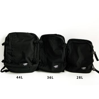 A4が入る28Lサイズから、36Lサイズ、44Lサイズの3サイズを見比べてみましょう。女子でも持ちやすいサイズ感なので、普段使いからアウトドア、ちょっとした旅行などに活躍してくれますよ。