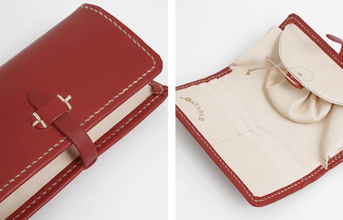 エタブルのお財布で、大きな特徴として知られているのが、巾着型の小銭入れ。 外から見ると、牛革製の大人らしいお財布ですが、中は遊び心が感じられるんです。