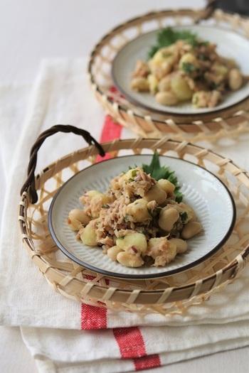 ホクホクとした食感同士で合わせやすい「ま(豆類)」と「い(芋類)」。甘めのおかずレシピが多いですが、さっぱり味のマリネを覚えておくと献立内で味のバランスが取りやすくなります。作り置きしておくと便利そうですね!