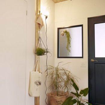玄関に設置すれば、コートラックやバッグ置き場、鍵置き場として活躍してくれそう。ライトを掛けて、間接照明を楽しんでも良いですね。