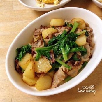 わさび菜の苦味も、豚バラとポテトの甘みでマイルドに。たっぷりのニンニクで炒めるのがポイントだそう。子どもにも人気がありそうなレシピです。