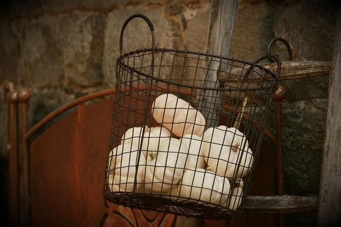 ワイヤー製のヴィンテージのバスケットです。野菜や果物のストック用に使うとおしゃれに収納保存ができて便利です。
