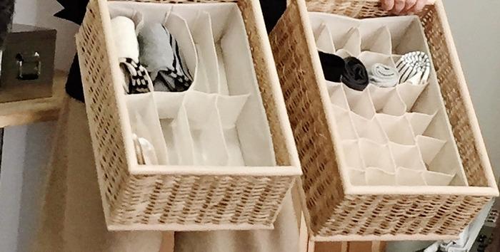 無印良品の「重なるブリ材長方形バスケット」に、ニトリの「整理ボックス」を入れておけば、見やすさと取り出しやすさが両立した収納に。どこに入れるか迷うことがないので、お洗濯後に仕舞うときもラクラクです。