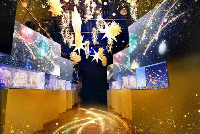 """12月25日(火)までの限定で、館内全体をクリスマス仕様の""""没入型""""イルミネーションで包みこむ、「STAR AQUARIUM -Bright Christmas-(スターアクアリウム‐ブライトクリスマス‐)Directed BY NAKED」を開催中。「星」をモチーフとしたプロジェクションマッピングやアートワークを、館内のいたるところで楽しめますよ。  こちらの水槽の展示スペースでは、星の瞬きの映像とともに、ゴールドやシルバーの魚たちが優雅に泳ぐ様子を楽しめます。"""