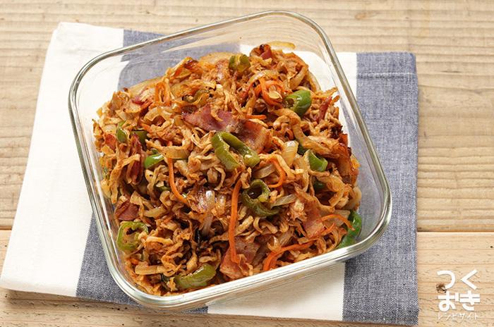 汁気の出にくい切り干し大根は、ヘルシーなお弁当のおかずにもおすすめ。野菜も細切りにして大きさを揃えることで、味も見た目もアップします。残り野菜を入れてアレンジしても。