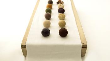 ころんとした可愛らしいひと口果子は、古代のスイーツであった干した果実や木の実に想いを馳せてつくったというお菓子です。お菓子にはそれぞれ日本の伝統色の名がつけられています。
