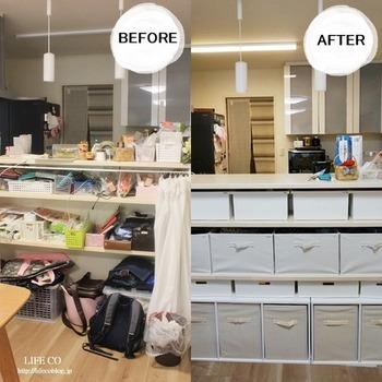 ゴチャゴチャしがちなカウンター下の収納も棚の高さに合ったものを選ぶと気持ちよく収納できますね。また、中に入れるもの、使う人、行動パターンに合わせて素材やサイズを選ぶといいようです。