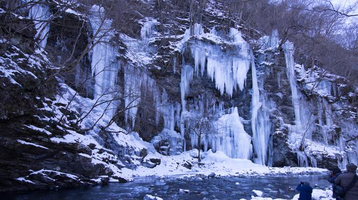 寒い冬の季節にだけ見ることができる奥秩父の「三十槌の氷柱(みそつちのつらら)」。高さ10メートル、幅50メートルもある天然の氷柱は圧巻のスケールです。