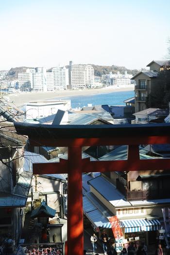 まずは江の島。江の島のお土産屋さんが連なる細道をぐんぐん上がっていくと見えてくるのが江島神社です。弁財天様の持っている琵琶と赤い鳥居が目印で、まるで竜宮城のような佇まいの江島神社は広島の安芸の宮島同様、日本の三大弁財天の一つなんです。
