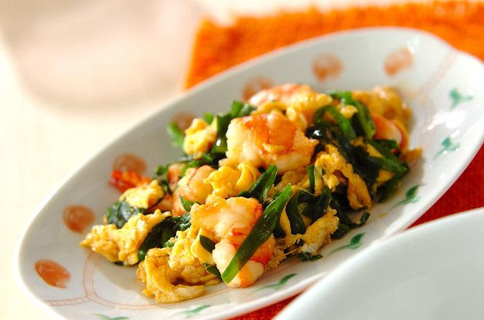 エビのプリッとした食感に、卵のふわっと感のコントラストが絶妙。卵は加熱時間を調節してお好みの固さに。
