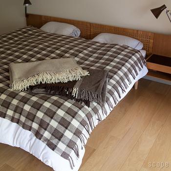 ベッドの毛布や羽毛布団の一番上に掛けたり。 大判なので1枚を二人で使えます。保温されて最高に温かい!