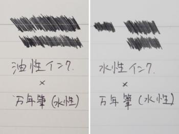 一般的なノートに使われるオフセット印刷(左)は油性のため、罫線が水性インクを弾いてしまいます。ツバメノートの罫線(右)は水性のため、浮くことなくインクに馴染みます(写真提供:ツバメノート株式会社)