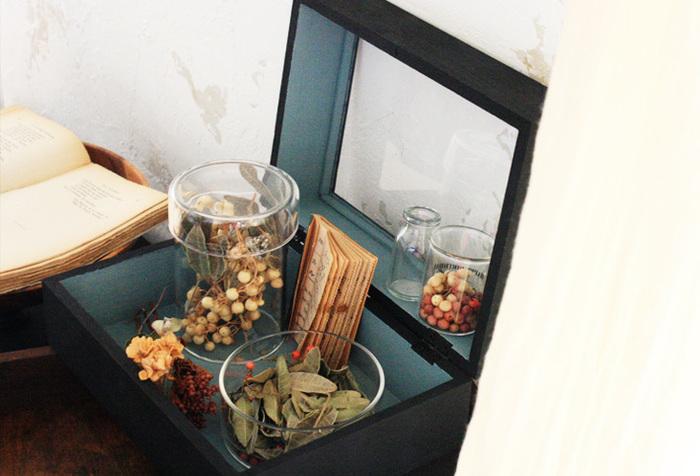 お気に入りの小物たちは、アンティークな佇まいのボックスに納めることで、小さな標本や箱庭のように。こちらは100円ショップの箱の部分を2つ重ねることで高さを出したコレクションボックス。