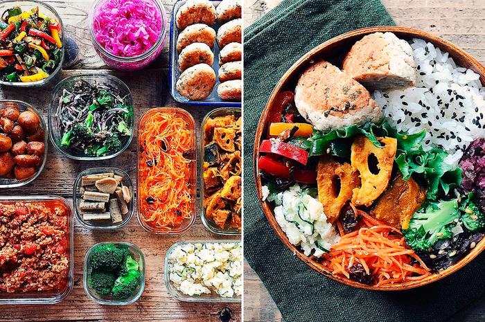 """時間のある週末に2時間ほどかけて、作り置きおかずを10~15品、だいたい1週間分のお弁当と晩御飯用に作っているtamiさん。彩り豊かで見栄えのする美味しそうなお弁当は、実は作り置きを活用して出来ています。また、味付けには一つで役立つ""""便利調味料""""もよく使用するそう。 日々の負担を抑えながら、食生活をちゃんと楽しむ――1つ目のルールは、そんな暮らしに繋がっているようです。"""