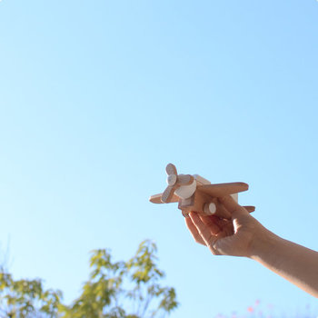 くるくる回るプロペラがついた飛行機のおもちゃです。お子さまにも持ちやすい大きさで、本体を少し手前に引き、手を離せば走り出すプルバックモーターを内蔵。こどもたちは夢中になって遊ぶこと間違いなしです♪