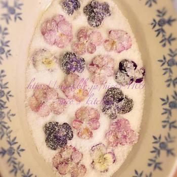 エディブルフラワーのビオラを砂糖漬けにしたものは、上品で美しいケーキに仕上げたい時に。ナッペされたシンプルなケーキに乗せるだけで、雪の中に咲く花のようでロマンチックなケーキが出来上がります。
