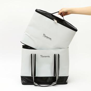 「バカンス バッグインクーラーバッグ」は、トートバッグの中にクーラーバッグを収納することのできる便利な2wayバッグです。トートバッグには荷物を、クーラーバッグには保冷材を入れて飲み物や食材を持ち運び、荷物が減った帰りはトートの中にクーラーバッグをそのまま収納できます。