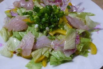 刺身で食べられる新鮮なメバルだったら、カルパッチョも◎ 粒マスタードをピリリと効かせて、新鮮な味わいに。