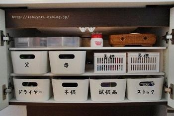 入れるもの、使う人によってボックスを使い分けるととっても便利。洗面台下の扉を開けたとき、雑然とした印象にならず気持ちがいいですね。