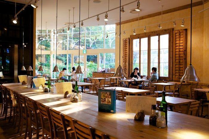 ベルギー発の人気ベーカリーカフェ、「Le Pain Quotidien(ル パン コティディアン)」。芝公園の緑と溶け合う開放的な空間で、気持ちのよい時間を過ごすことができます。