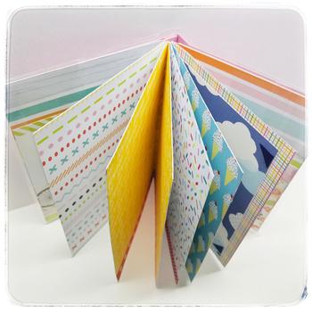 1ページごとに背景に違ったペーパーが貼り付けられているスクラップブックです。ただ写真を貼っていくだけで、賑やかな印象のスクラップブックになりますね。