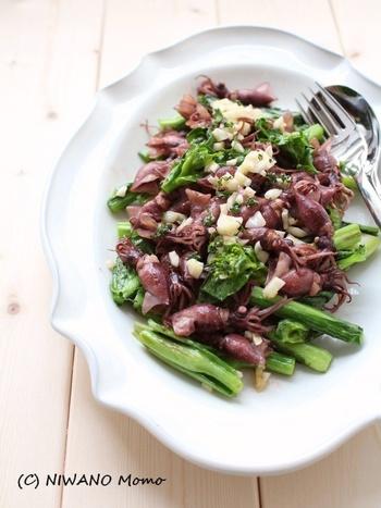 スペインバルの定番、プランチャ(鉄板焼き)をイメージ。ホタルイカと菜の花を使った、おしゃれな炒め物です。ホタルイカのうまみ、菜の花の苦み、ガーリックのコクが一体化した、簡単ながらも味わい深いひと皿です。