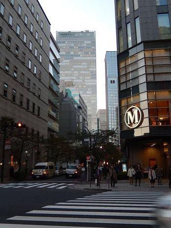 """""""八重洲""""は、商人の街として発展した「日本橋」や、日本橋と銀座を結ぶ商店街として栄えた「京橋」の玄関口です。  銀座や有楽町とも接する当地は、今も昔も、多くの物と人が行き交うビジネス街です。  【日本橋二丁目交差点付近の八重洲桜通り。手前の角は「丸善日本橋店」、奥のビルは、「グラントウキョウノースタワー」。八重洲桜通りは、桜の名所として有名。】"""