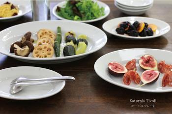 楕円形のオーバル皿は特別な日のお料理にぴったりです。パスタをはじめサラダやメインディッシュ全てに対応しお料理をおしゃれにみせてくれます。