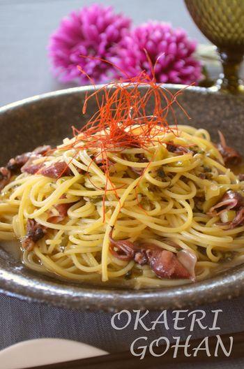 グレープシードオイルを使ってホタルイカのお味をパスタにうまく馴染ませています。糸唐辛子をトッピングするとお洒落さがアップします。