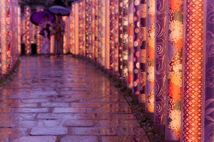 夜はまた違った、ゆったりとした大人な雰囲気が楽しめそう。雨降る中でも訪れたい幻想的な場所。