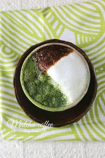 抹茶とコーヒーは意外に相性が良く、こだわりのコーヒーを提供するカフェのメニューでも時々見かけることのある組み合わせですね。紙と茶漉しを使い、フォームドミルクに抹茶パウダーとインスタントコーヒーをさらさらと振れば、ラテアートのような和のカフェラテが出来上がります。