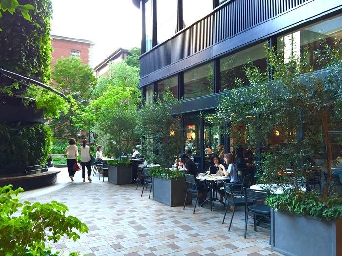 「A16 TOKYO」は、ブリックスクエアの一角を占める人気店。北米に本店がある当店は、南伊料理をベースとしたカルフォルニアイタリアン。メニューも幅広く、ランチからディナータイムまで、終日多くの客で賑わいます。 【一号館広場に面するテラス席は、店内共々明るく広々。】