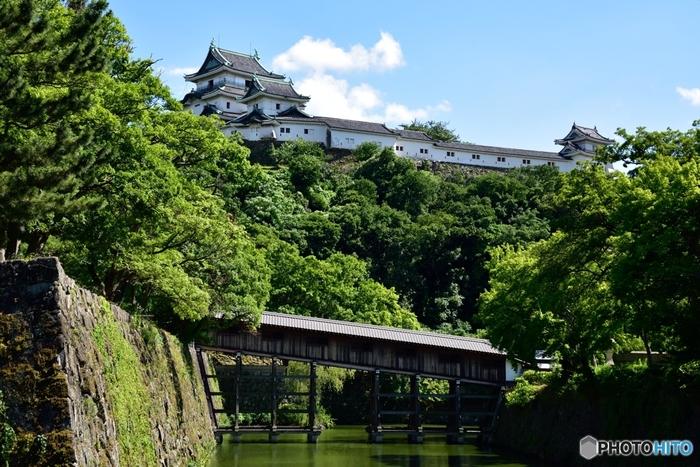 白くて美しい天守閣が特徴の「和歌山城」。城下町である和歌山市のシンボル的存在です。和歌山城は1585年、紀州を平定した豊臣秀吉が弟の秀長に築城させ、秀長の城代として桑山重晴が入城したのがはじまりと言われています。現在の天守閣は、1958年に再建されたものです。 和歌山城内には、藩主の生活の場だった「二の丸」と、庭園のある「西の丸」の間には、「御橋廊下」と呼ばれる渡り廊下がかかっています。