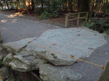 三ツ石の近くにある「亀石」。亀は長寿のシンボルであるため、健康促進の効果があるパワースポットとされています。
