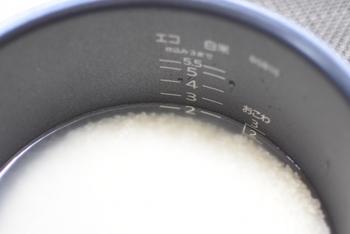 冷凍保存する場合は、炊飯の際、いつもよりも硬めに炊きあがるように水加減をします。