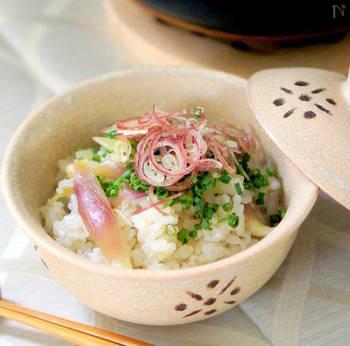 香りだけでなく食感も楽しめるもち米をいれたみょうがご飯。もっちりとした食感で冷めても美味しく食べられます。みょうがの爽やかな香りと食感でお酒のシメにもピッタリです。