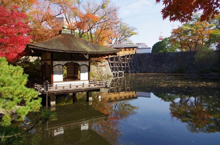 「西之丸庭園」は、和歌山城内の西の丸にあります。国の指定名勝で、秋の紅葉が見事なことから「紅葉渓庭園」とも呼ばれています。美しい景色の中で静かな時間を過ごすことができる、心安らぐ庭園です。