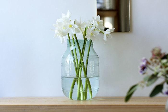 オマジオのシルエットはそのまま、クリアなガラスが美しい「Omaggio Glass(オマジオグラス)」。全て吹きガラスとのハンドメイドで作られており、こちらも一つとして同じものはありません。植物の茎や根の表情までいきいきと楽しむことができますよ。