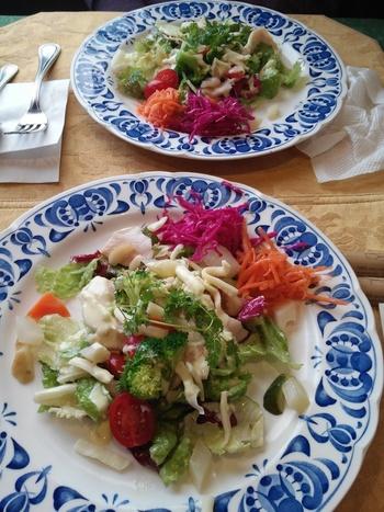 ランチは、品数によって異なる3種類。こちらはカジュアルにいただける「サラダランチ」のサラダです。ブルーの柄が美しいプレートに、色とりどりのお野菜が盛り付けられた美しいひと皿。