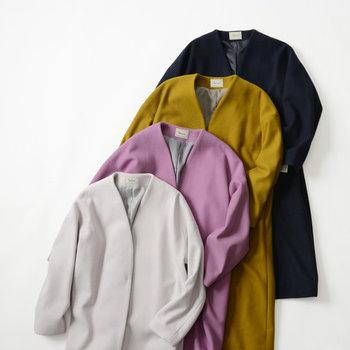 """コートスタイルを新鮮にする""""カラーアウター""""。気になるアイテムはありましたか? ピンとくる一着を見つけたら、詳しくチェックしておきましょう!"""