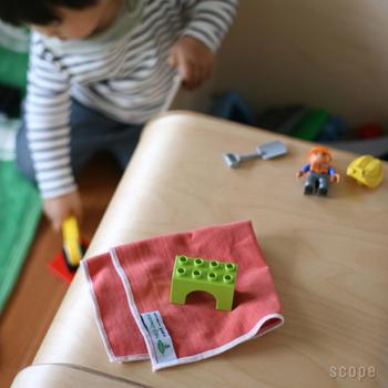 窓拭き同様、小さいお子さまのおもちゃの掃除にも大活躍!遊びの前も後にも、洗剤や除菌スプレーなどを使わず、パパっと使えてとっても便利!